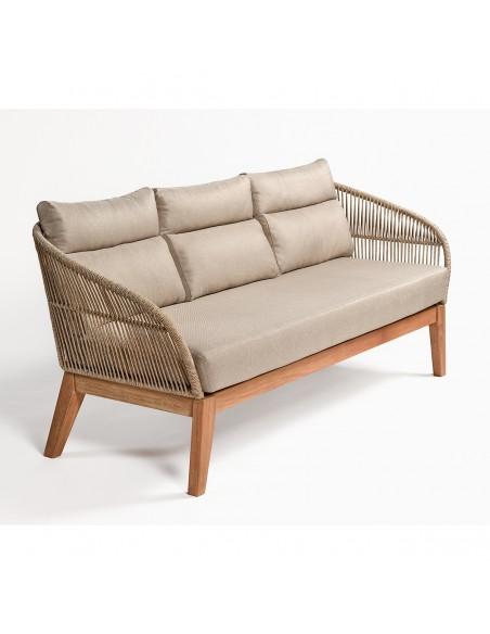 Sofa de madera y cuerda exterior
