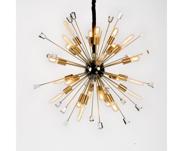 Lámpara dorado envejecido y cristal