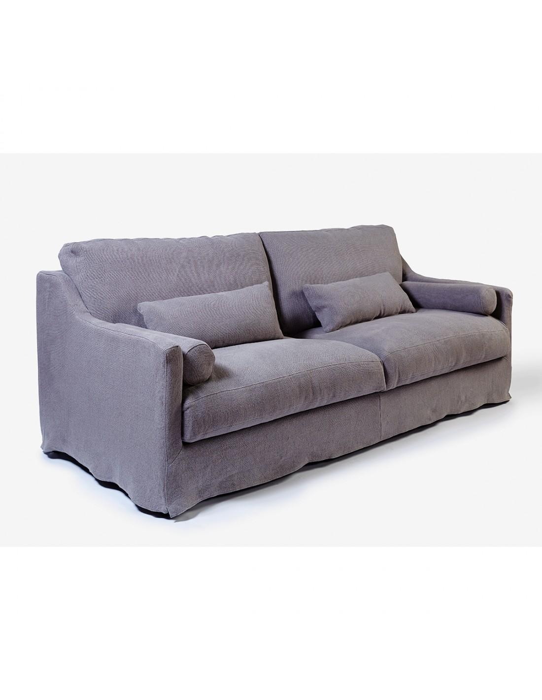 Sofa Lino Gris 2 Plazas 182x98x92