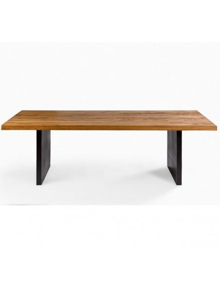 Mesa madera de roble y metal Foto: clint-mesa-comedor-madera-y-metal