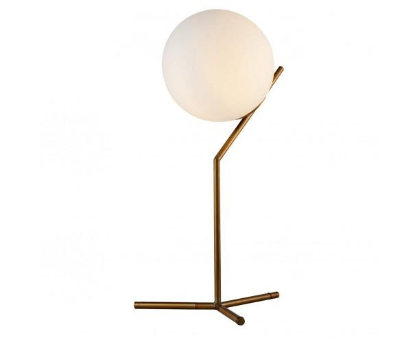 Lámpara de mesa metal dorado y cristal Foto: ESCOLA