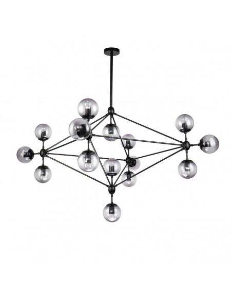 Lámpara colgante de metal negro y cristal ahumado Foto: PRISCILA-2