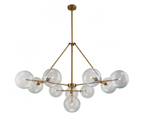 Lámpara colgante de metal dorado y cristal Foto: ISIDORA