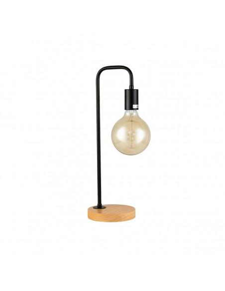 Lámpara de mesa negra, madera y cristal Foto: AMAI-N