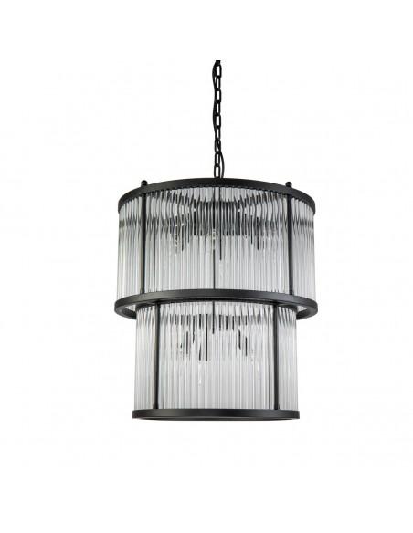 Lámpara de metal negro y cristal Foto: divina